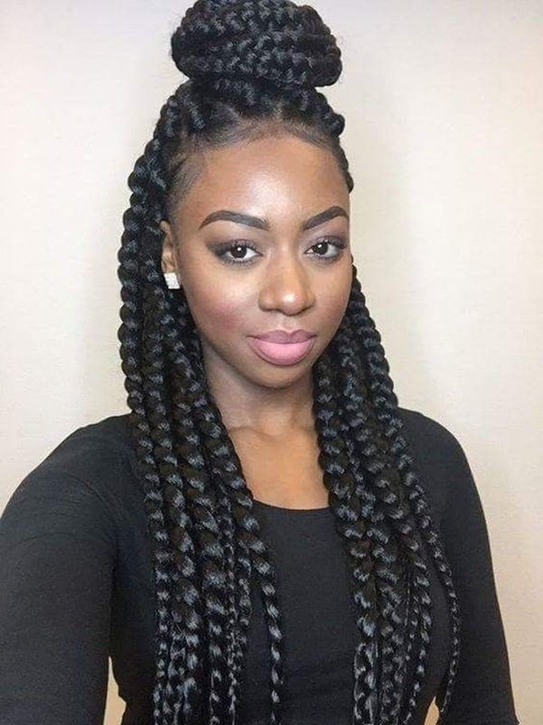 115 Amazing Box Braids That Gives You A New Look Pertaining To Most Current Half Up Buns Yarn Braid Hairstyles (View 25 of 25)