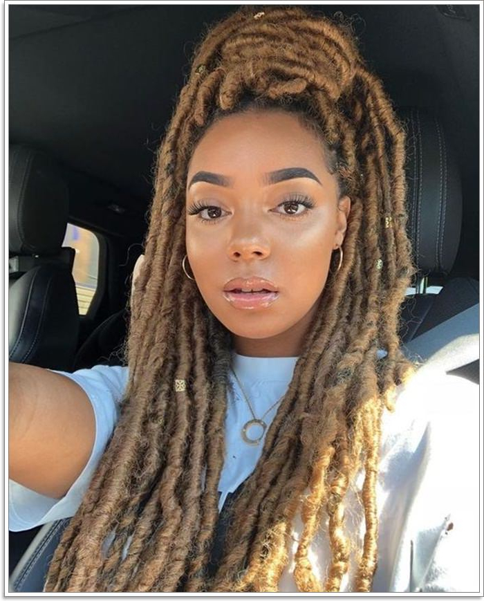 118 Fascinating Faux Locs Hairstyles [Styles For 2019] Within Most Recent Blonde Faux Locs Hairstyles With Braided Crown (View 13 of 25)