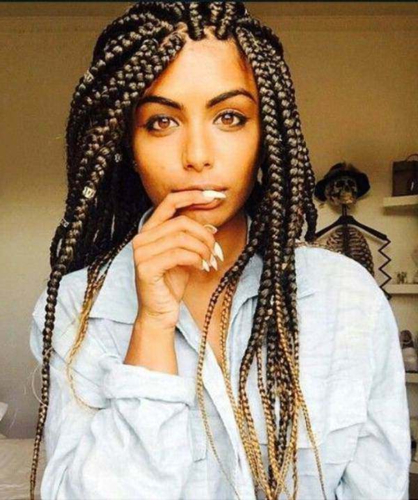 121 Sophisticated Jumbo Box Braids Styles For You Intended For Most Up To Date Blonde Asymmetrical Pigtails Braid Hairstyles (View 24 of 25)