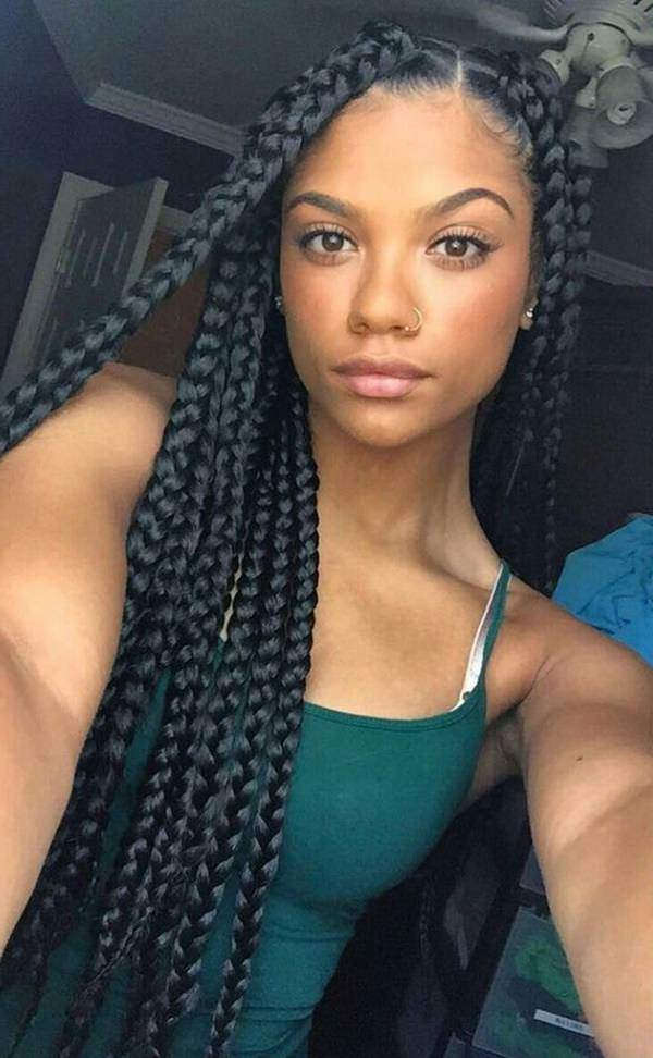 121 Sophisticated Jumbo Box Braids Styles For You With Regard To Best And Newest Side Parted Braid Hairstyles (View 7 of 25)