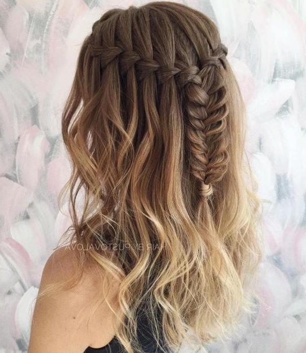 123 Beautiful Waterfall Braid Hairstyles With Tutorial Regarding Most Up To Date Double Half Up Mermaid Braid Hairstyles (View 10 of 25)