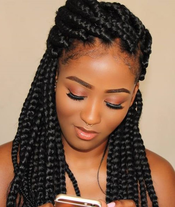 123 Outstanding Box Braids Everybody Would Fall In Love With Within 2018 Loose Braided Hairstyles With Turban (View 21 of 25)