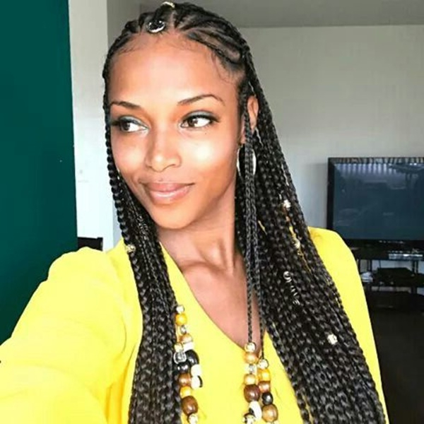125 Braids For Black Women Within Newest Blue And Black Cornrows Braid Hairstyles (View 22 of 25)