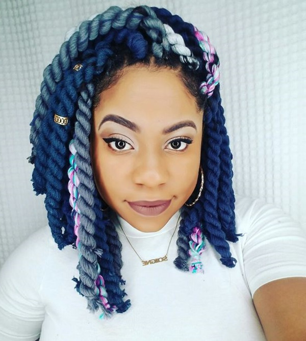 125 Trendy Yarn Braids You Should Wear Intended For Current Blue Twisted Yarn Braid Hairstyles For Layered Twists (View 4 of 25)