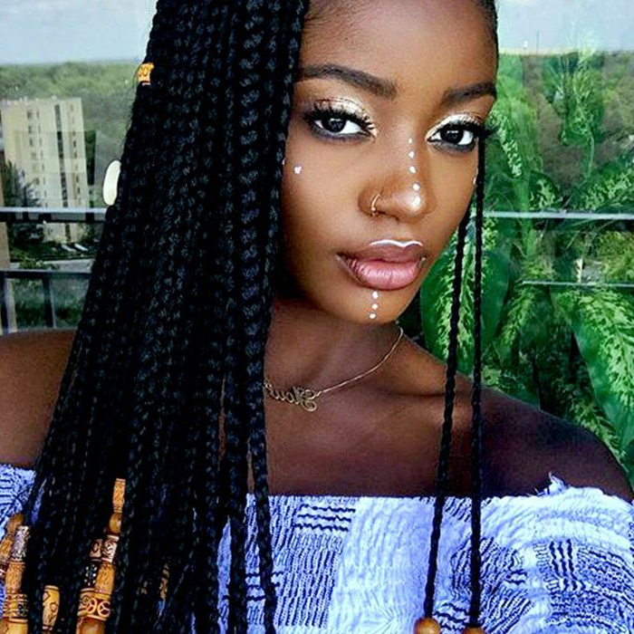 13 Beautiful Hairstyles With Beads You Have To See Intended For Recent Box Braid Bead Ponytail Hairstyles (View 4 of 25)