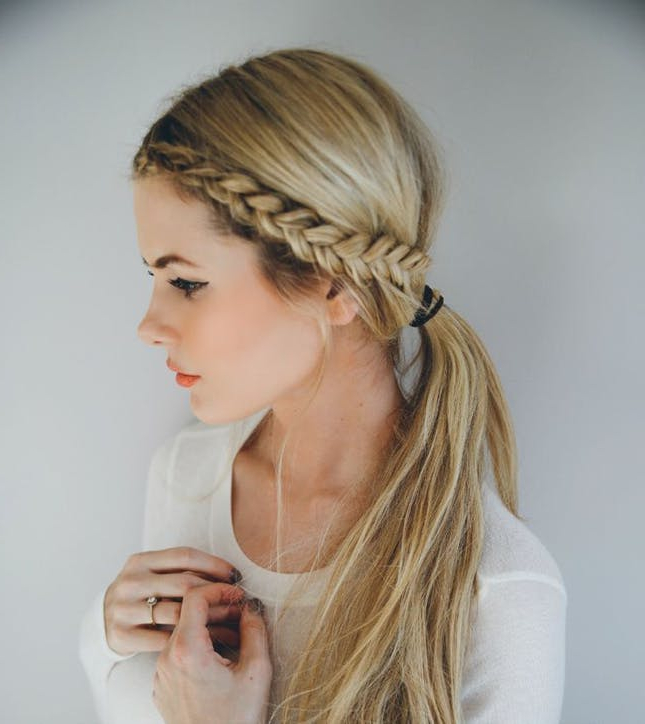 14 Ridiculously Easy 5 Minute Braided Hairstyles   Brit + Co In Recent Blonde Asymmetrical Pigtails Braid Hairstyles (View 21 of 25)