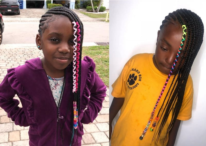 15 Beautiful Hairstyles With Beads For Little Girls [2019] For Newest Skinny Braid Hairstyles With Purple Ends (View 25 of 25)