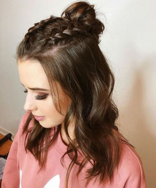 15 Trendiest Half Up Half Down Hairstyles 2019 To Blow For Newest Half Up Buns Yarn Braid Hairstyles (View 19 of 25)