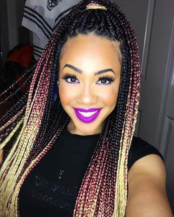 150 Chic Box Braids Styles That You Should Try Regarding Recent Skinny Braid Hairstyles With Purple Ends (View 11 of 25)