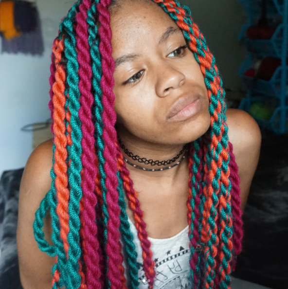 17 Colorful Protective Styles For Natural Hair To Inspire Inside Most Popular Colorful Yarn Braid Hairstyles (View 11 of 25)