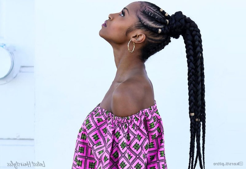 17 Hot Styles – Braided Ponytail For Black Hair In 2019 Inside Newest Golden Swirl Lemonade Braided Hairstyles (View 23 of 25)