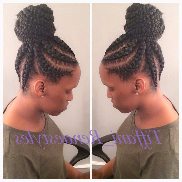 19 More Big Cornrow Styles To Feast Your Eyes On Inside Most Up To Date Thick Cornrows Bun Hairstyles (View 2 of 25)