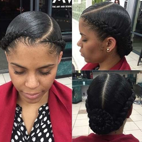 20 Beautiful Braided Updos For Black Women In Most Up To Date No Pin Halo Braided Hairstyles (View 12 of 25)