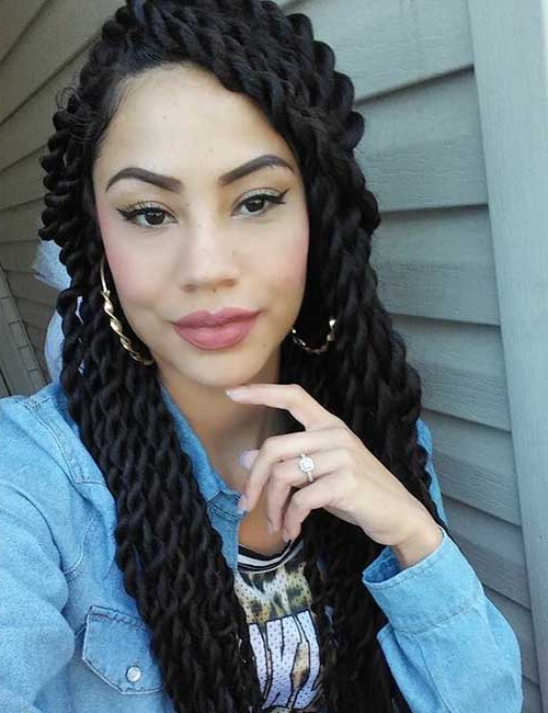 20 Best Hairstyles For Senegalese Twist With Latest Partial Updo Rope Braids With Small Twists (View 14 of 25)