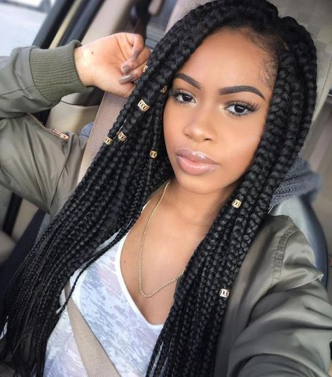 20 Eye Catching Ways To Style Dookie Braids | Alecia's With Regard To Most Recently Box Braids And Beads Hairstyles (View 2 of 25)
