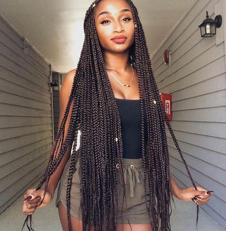 20 Iconic Box Braids Hairstyles Pertaining To Most Popular Funky Sock Bun Micro Braid Hairstyles (View 21 of 25)