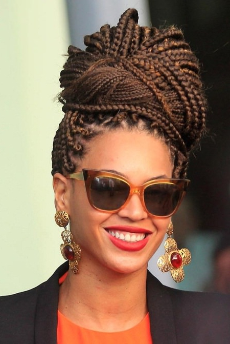 20 Iconic Box Braids Hairstyles Throughout Most Recently Funky Sock Bun Micro Braid Hairstyles (View 11 of 25)