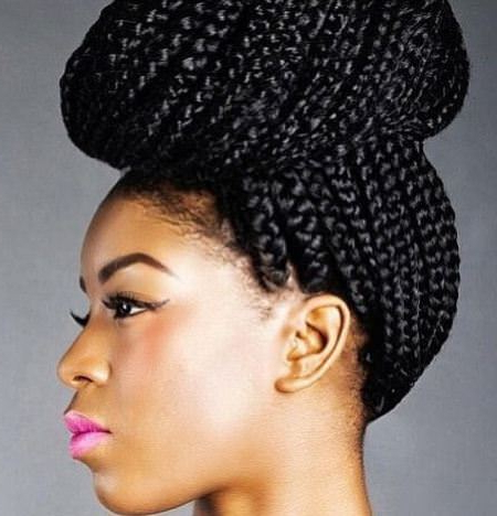 20 Mesmerizing Box Braids Updo Hairstyles Intended For Most Current Box Braided Bun Hairstyles (View 7 of 25)