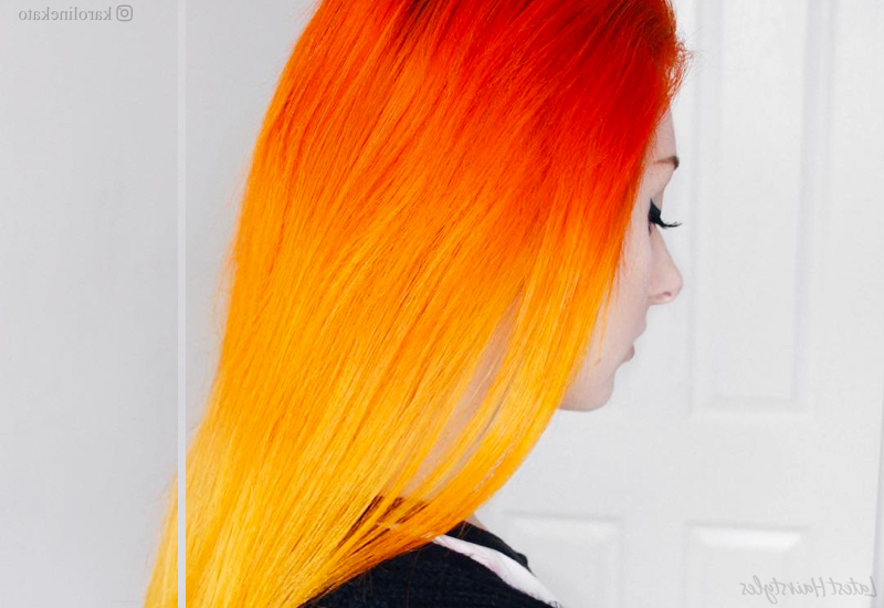 20 Stunning Orange Hair Color Examples In 2019 Throughout Recent Red, Orange And Yellow Half Updo Hairstyles (View 4 of 25)