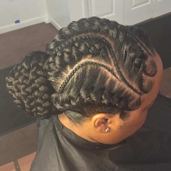 20 Under Braids Ideas To Disclose Your Natural Beauty With Most Recent Thick Cornrows Bun Hairstyles (View 4 of 25)