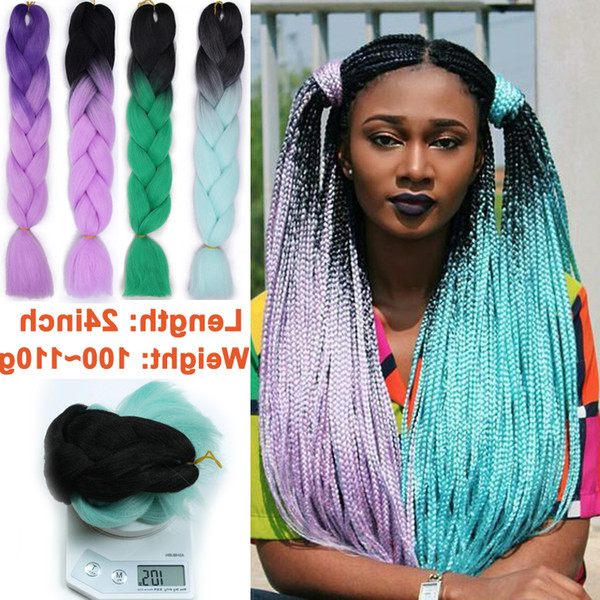 2019 Synthetic Ombre Kanekalon Jumbo Hair Synthetic Braiding Hair Crochet Ombre Two Tone Color Hair Extensions Jumbo Braids Hairstyles From For Most Recently Two Ombre Under Braid Hairstyles (View 16 of 25)