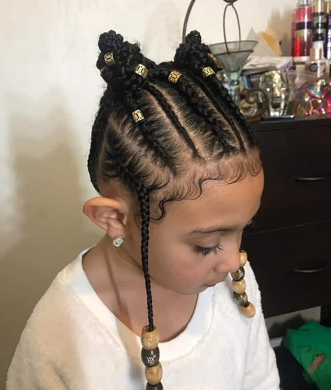 21 Attractive Little Girl Hairstyles With Beads – Hairstylecamp Throughout Most Up To Date Mohawk Braided Hairstyles With Beads (View 8 of 25)