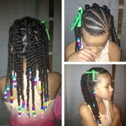 21 Attractive Little Girl Hairstyles With Beads – Hairstylecamp Within 2018 Box Braid Bead Ponytail Hairstyles (View 8 of 25)