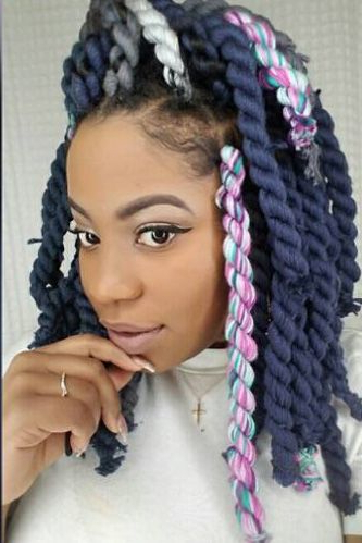 21 Beautiful Black Women Slaying In Yarn Twists, Braids And With Recent Colorful Yarn Braid Hairstyles (View 3 of 25)