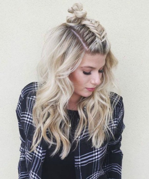 21 Cute & Easy Updo Hairstyles | Love Ambie Inside Most Recently Half Up Top Knot Braid Hairstyles (View 20 of 25)