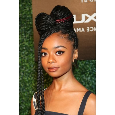 21 Dope Box Braids Hairstyles To Try | Allure Intended For Most Up To Date Box Braided Bun Hairstyles (View 10 of 25)