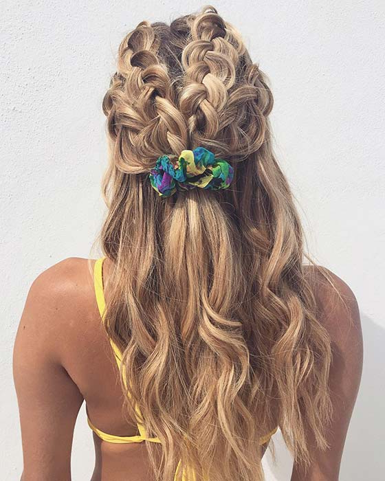 21 Pretty Half Up, Half Down Braid Hairstyles To Diy | Stayglam Pertaining To Newest Half Up Half Down Boho Braided Hairstyles (View 3 of 25)