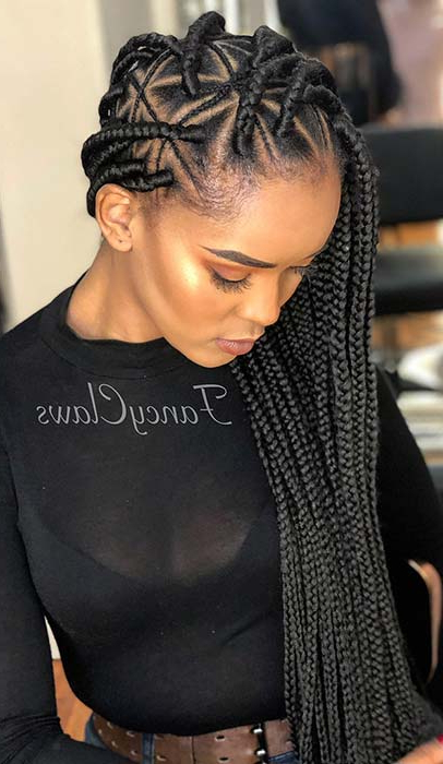 21 Pretty Triangle Braids Hairstyles You Need To See   Stayglam Regarding Newest Skinny Braid Hairstyles With Purple Ends (View 8 of 25)