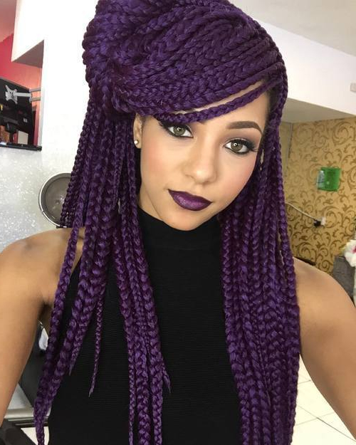 22 Unbeatable Long Box Braids To Explore – Hairstylecamp Throughout Best And Newest Multicolored Extension Braid Hairstyles (View 16 of 25)