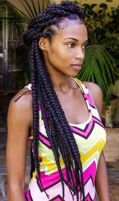23 Big Box Braids Hairstyles For Black Hair | Stayglam Inside Best And Newest Wrap Around Triangular Braided Hairstyles (View 4 of 25)