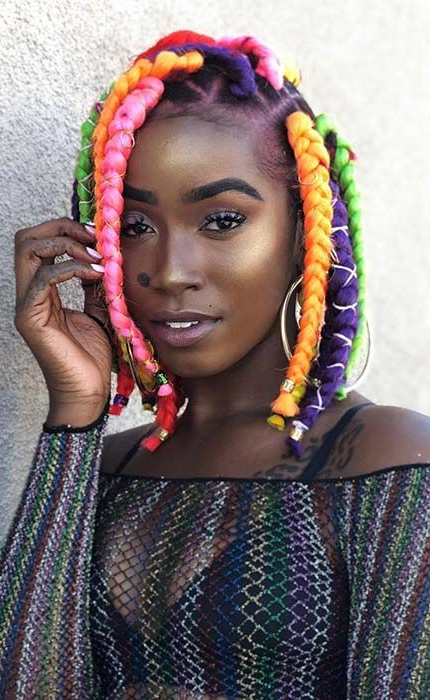 23 Big Box Braids Hairstyles For Black Hair | Stayglam Inside Most Current Multicolored Bob Braid Hairstyles (View 3 of 25)