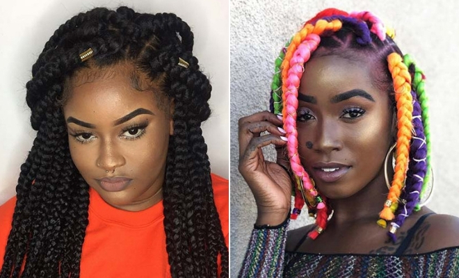 23 Big Box Braids Hairstyles For Black Hair | Stayglam Pertaining To Most Popular Half Up Box Bob Braid Hairstyles (View 9 of 25)