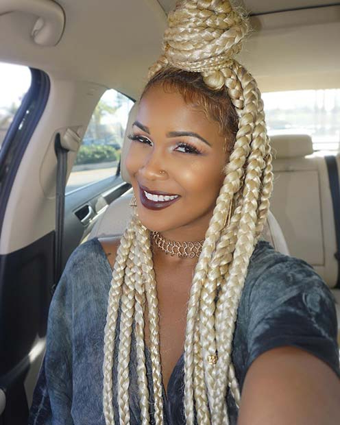 23 Cool Blonde Box Braids Hairstyles To Try | Page 2 Of 2 Regarding Most Recent Blonde Braid Hairstyles (View 20 of 25)