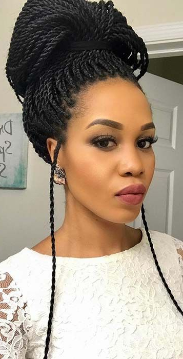 23 Eye Catching Twist Braids Hairstyles For Black Hair Regarding Most Recent High Half Up Bun Invisible Braids (View 9 of 25)