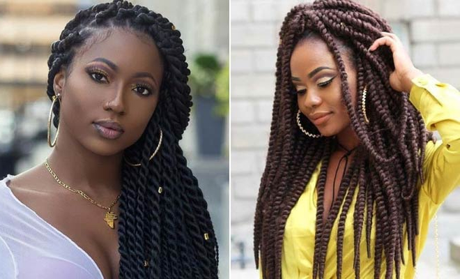 23 Eye Catching Twist Braids Hairstyles For Black Hair With Most Recently Side Swept Twists Micro Braids With Beads (View 16 of 25)
