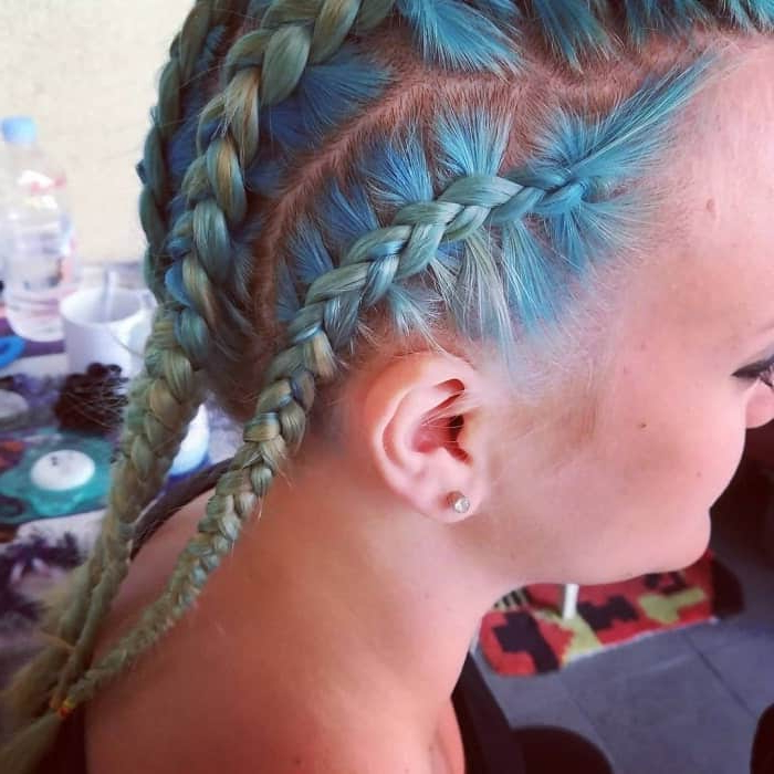 23 Modern Blue And Green Hair Colors We Love (2019 Guide) With Most Recently Braided Mermaid Mohawk Hairstyles (View 11 of 25)