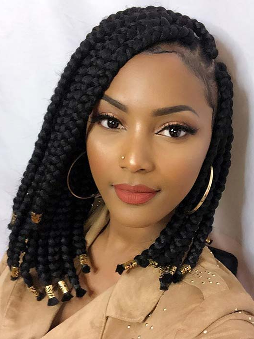 23 Short Box Braid Hairstyles Perfect For Warm Weather In Newest Side Parted Braid Hairstyles (View 10 of 25)