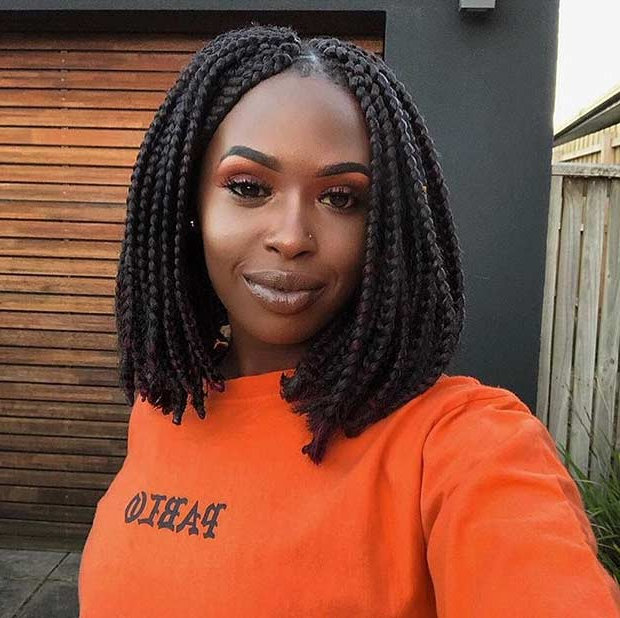 23 Trendy Bob Braids For African American Women | Stayglam With Regard To Latest Mini Braids Bob Hairstyles (View 24 of 25)