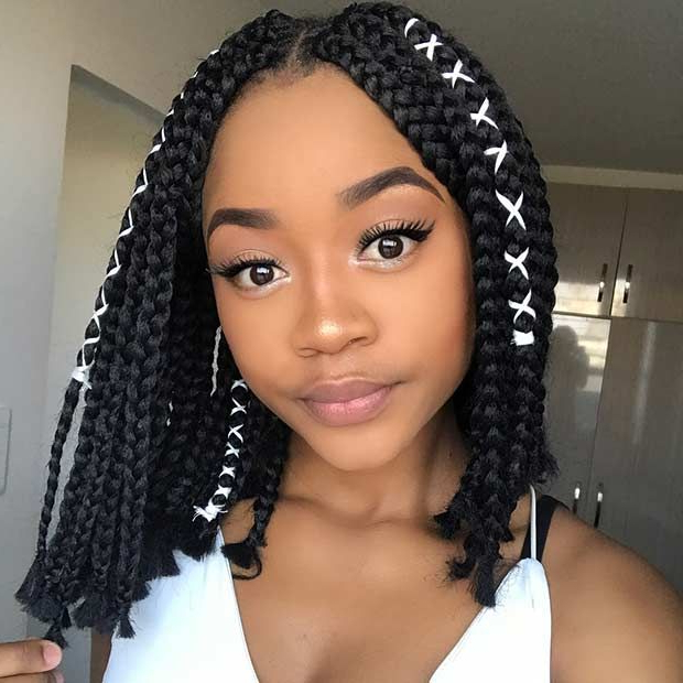 Featured Photo of Black Shoulder Length Braids With Accents