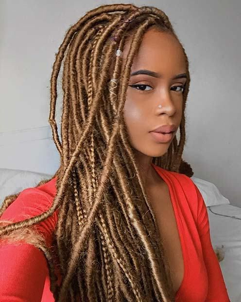 23 Ways To Pull Off Goddess Faux Locs | Faux Locs | Faux In Newest Blonde Faux Locs Hairstyles With Braided Crown (View 9 of 25)