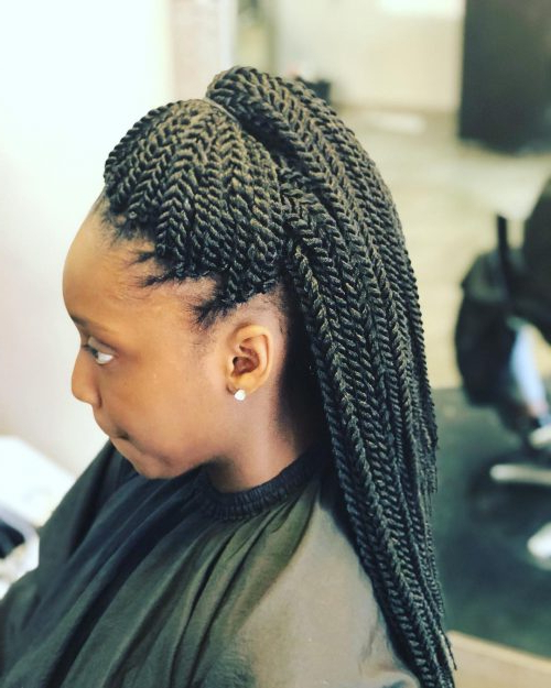 24 Senegalese Twist Styles To Try In 2019 With Most Up To Date Crochet Mohawk Twists Micro Braid Hairstyles (View 8 of 25)