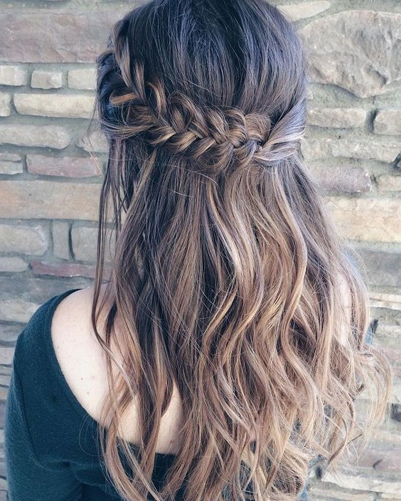 25 Bridesmaids' Half Up Hairstyles That Inspire – Weddingomania With Regard To Most Up To Date Thick Two Side Fishtails Braid Hairstyles (View 16 of 25)