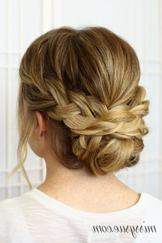 25 Chic Braided Updos For Medium Length Hair – Hairstyles Weekly Inside Most Up To Date Brown Woven Updo Braid Hairstyles (View 6 of 25)