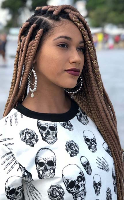 25 Crochet Box Braids Hairstyles For Black Women | Page 2 Of For Best And Newest Light Brown Braid Hairstyles (View 19 of 25)