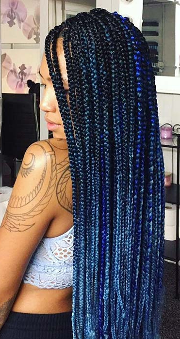 25 Crochet Field Braids Hairstyles For Black Ladies – 101 Throughout 2018 Blue And Black Cornrows Braid Hairstyles (View 14 of 25)