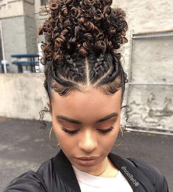 25 Updo Hairstyles For Black Women | Black Updo Hairstyles Within 2018 Naturally Curly Braided Hairstyles (View 24 of 25)